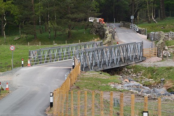 Temporary bridge which by-passed the washed away A591 at Dunmail Raise