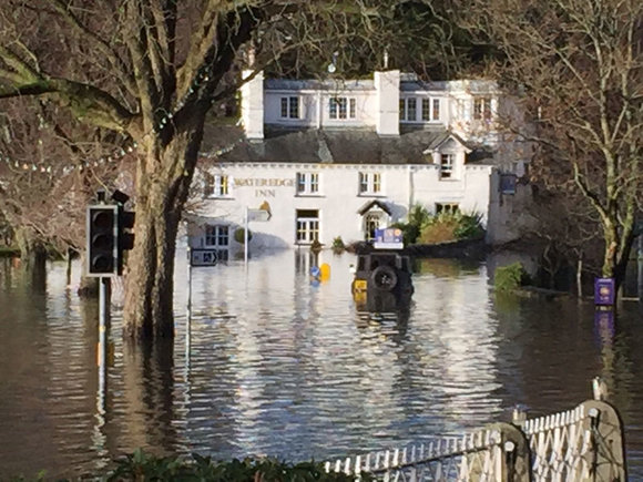 Ambleside flooded in December 2015