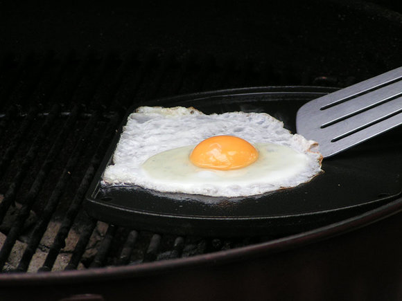 Egg cooked on the Griddle on the Weber Master-Touch BBQ