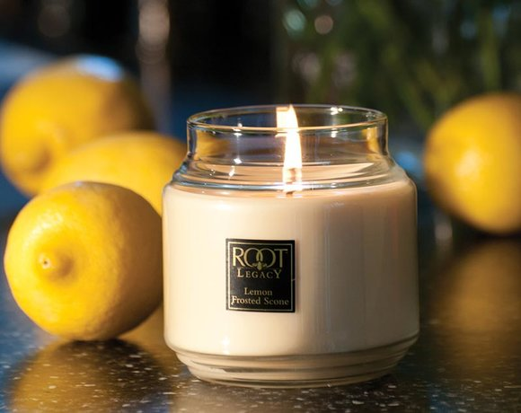 ROOT Lemon Frosted Scone candle in jar with lemons