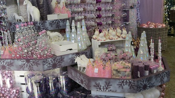 Christmas decorations in pink, purple and lilac