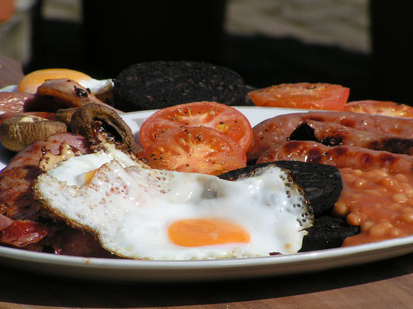 English breakfast cooked on the Weber Genesis II LX gas BBQ