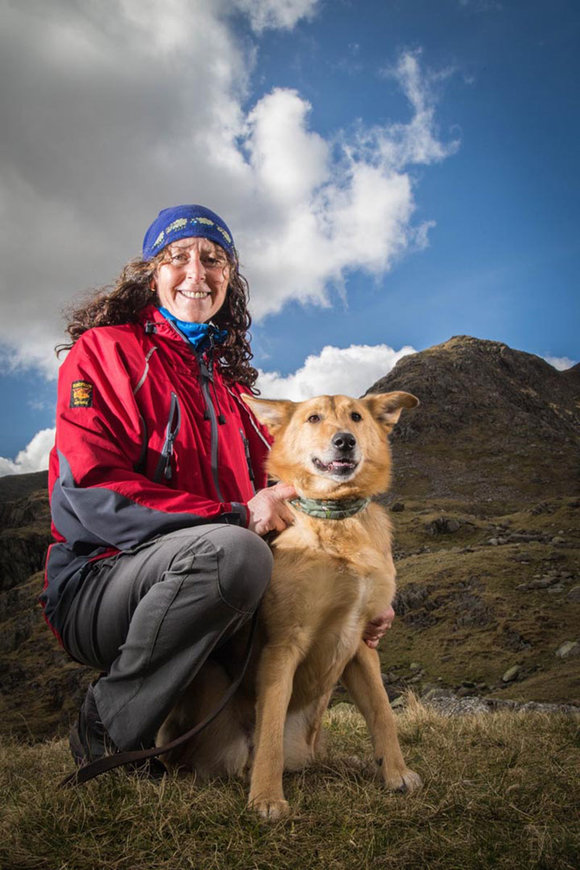 Janice Hamilton & Harlie lead Casualty Carer in Coniston Mountain Resuce team