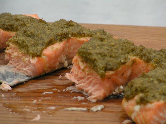 Salmon with pesto cooked on the Traeger wood pellet grill, Pro Series 22