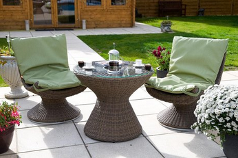 talking point of your garden or patio with its comfortable swivelling resin weave chairs and turning table which has a central storage pocket to keep a