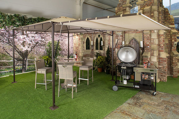 Weber Summit charcoal Grilling Centre + extendable gazebo + high bar and stools