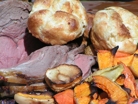 Sunday lunch (rib of beef, vegetables, Yorkshire pudding) cooked on Weber Genesis II LX