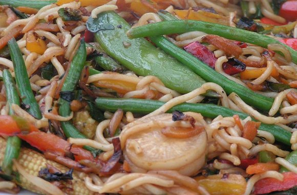 Oriental vegetable stir fry cooked on the BBQ