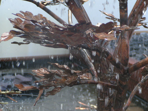 Bronze leaf garden water feature