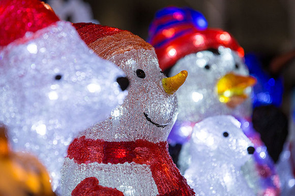 Lighted acrylic figures at Hayes Garden World Christmas display