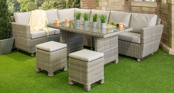 4 Seasons Fortaleza Cosy modular dining set in Roca. Cushions on quality rattan garden furniture need protection in