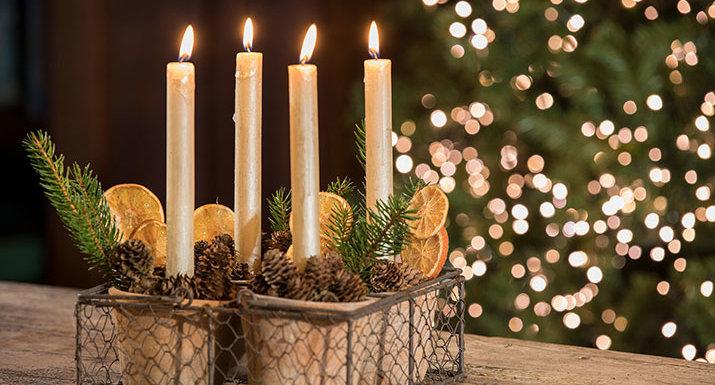 Advent arrangement with plant pots, cones, orange slices, pine sprigs, candles
