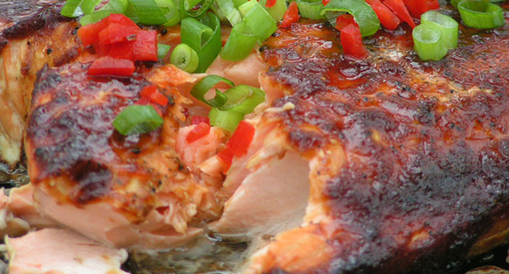 Asian style salmon cooked on the Weber Spirit II E-310 gas barbecue