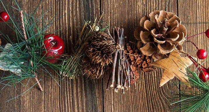 Christmas garland with cones, twigs and berries
