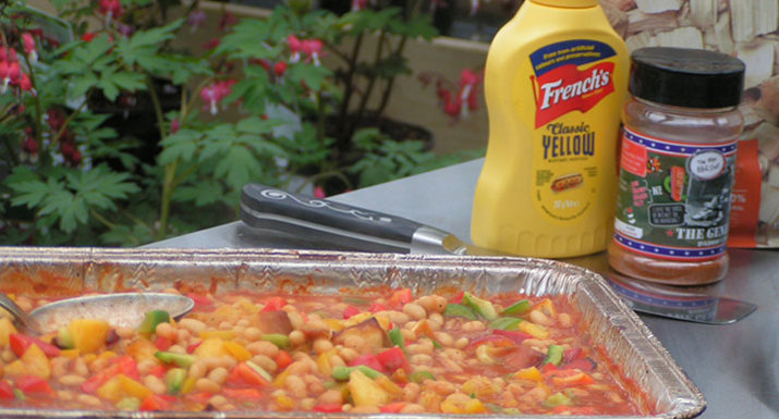BBQ beans with Angus & Oink 'The General' rub and American mustard