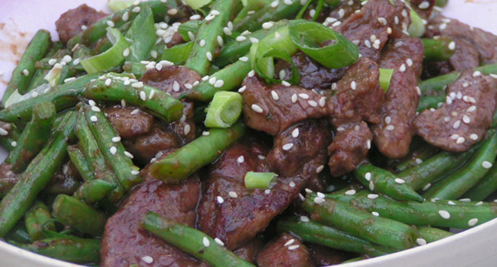 Beef stir fry with ginger and sesame cooked on the Weber Spirit II E-310 gas BBQ