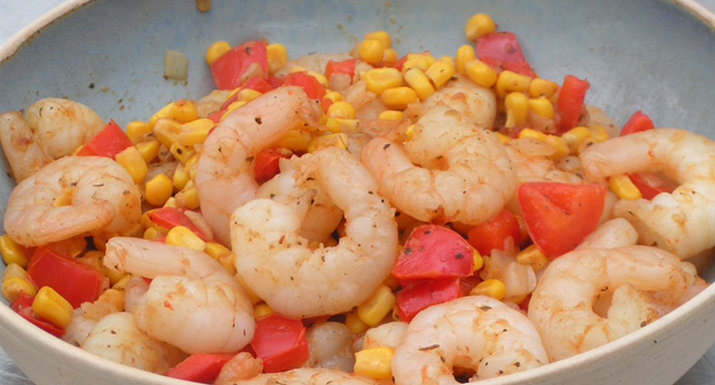 Cajun prawns cooked on the Weber E-310 gas BBQ
