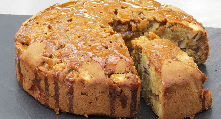 caramel apple cake with pecans baked on Traeger Timberline 850 wood pellet grill