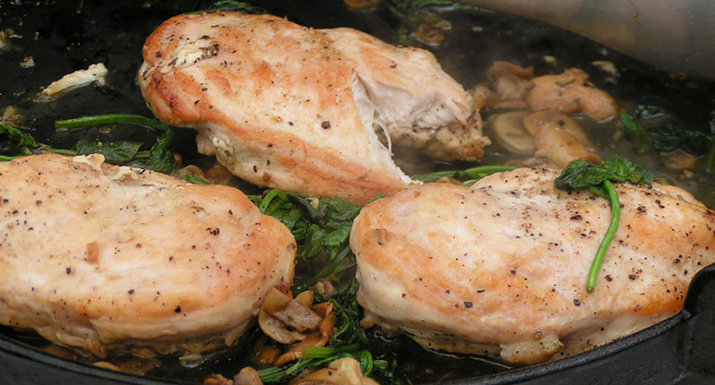 chicken escallope with white wine, rosemary & garlic cooked on the Weber Spirit