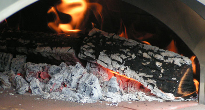 Fire in the Alfa wood fired pizza oven