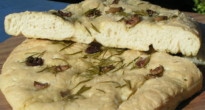 Focaccia with olives and rosemary cooked in the Alfa wood fired oven