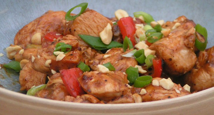 Kung pao chicken cooked on the Weber Master-Touch charcoal BBQ