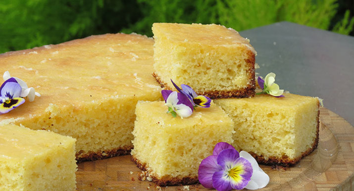 lemon drizzle cake baked on the Traeger Timberline 850 wood pellet grill