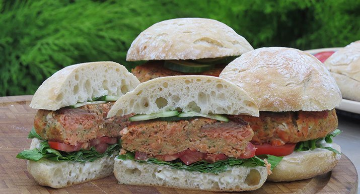 salmon burgers cooked on the Kadai Indian Fire Bowl