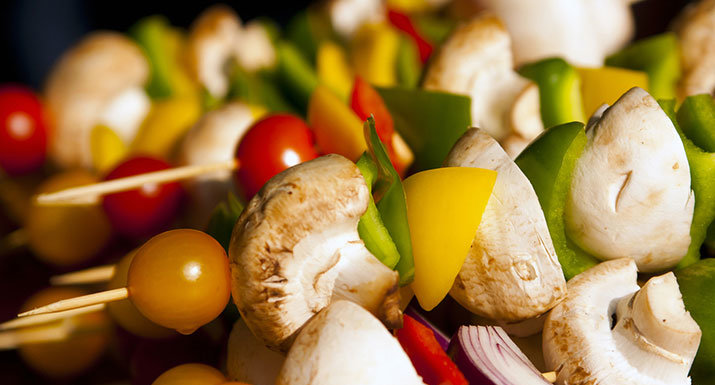 Skewers of mixed vegetables