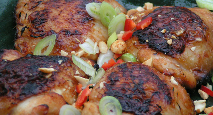 Thai style chicken thighs cooked on the Weber Spirit II E-310 gas BBQ