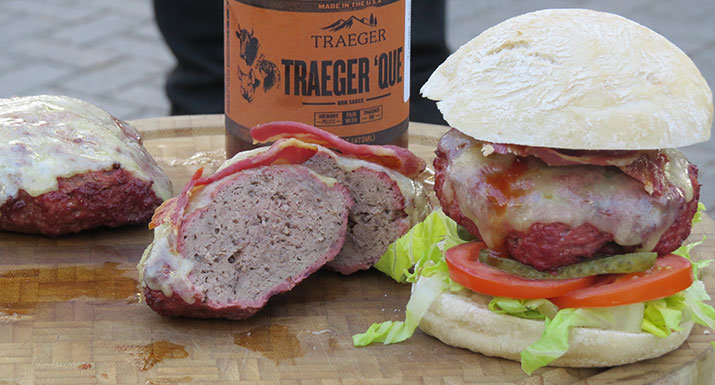 venison burger cooked on the Traeger Timberline 850 wood pellet grill