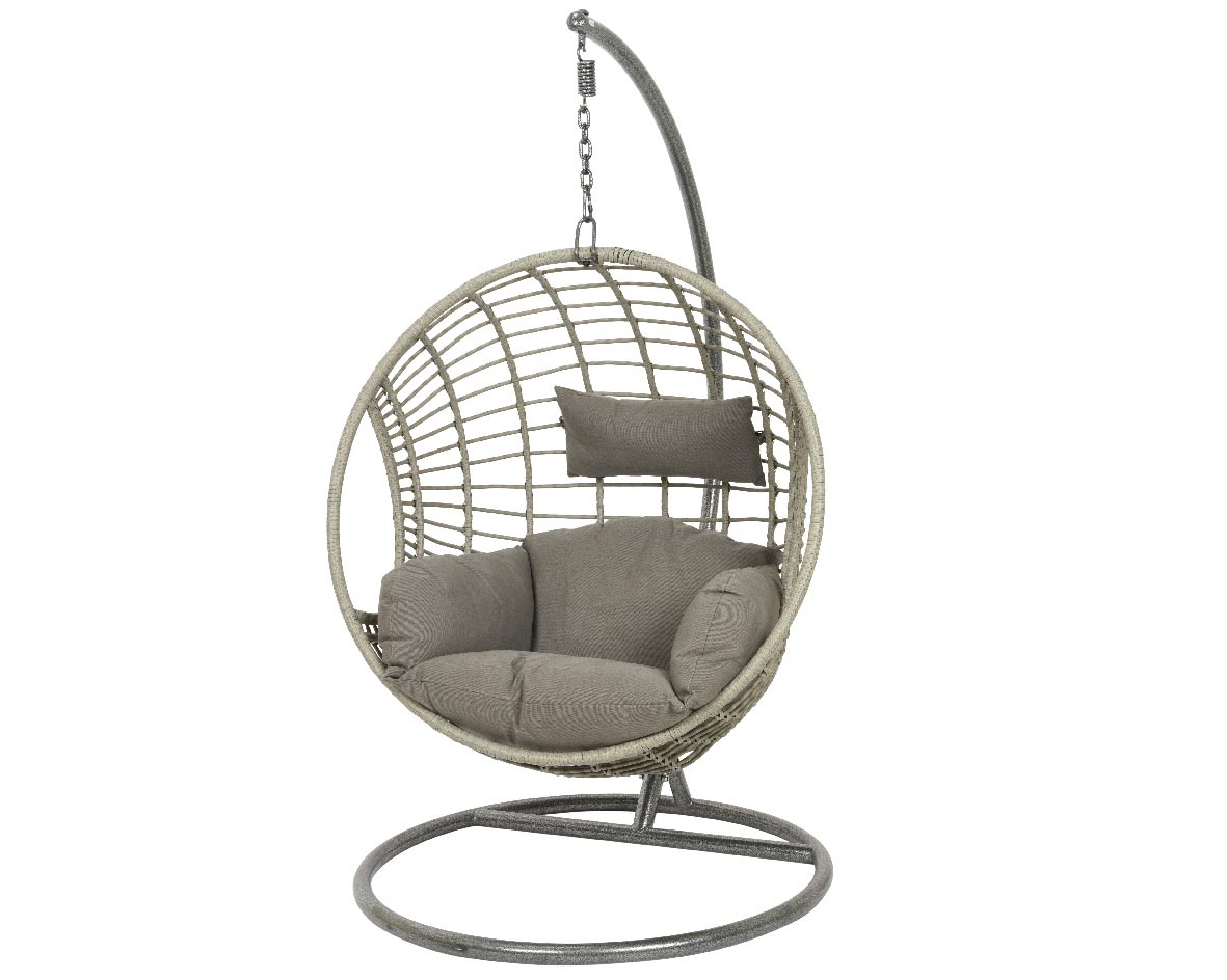 Hanging Wicker Egg Chair - Grey