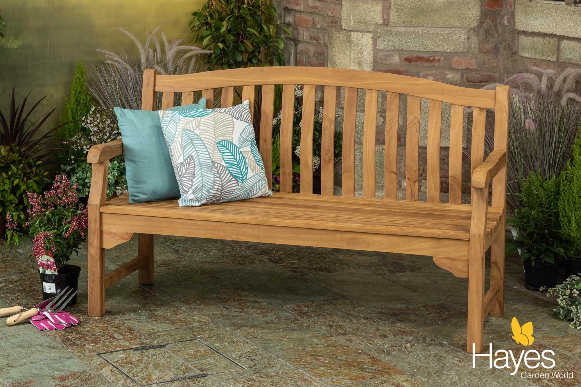 5ft solid teak kingsbury garden bench