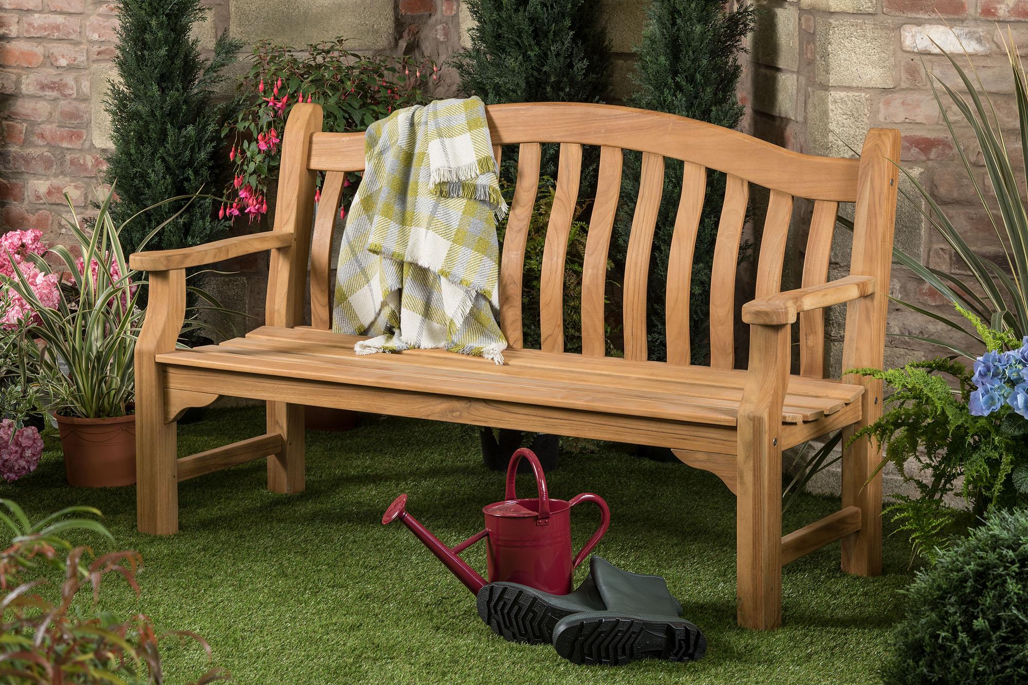 5ft solid teak tenbury garden bench fsc teak hardwood bench