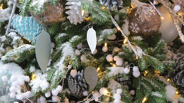 Vienna Fir artificial Christmas tree dressed in white, pale blue & natural