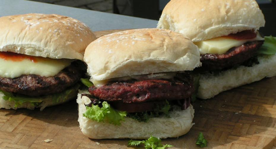 burgers cooked on the gas, electric and charcoal Weber BBQs