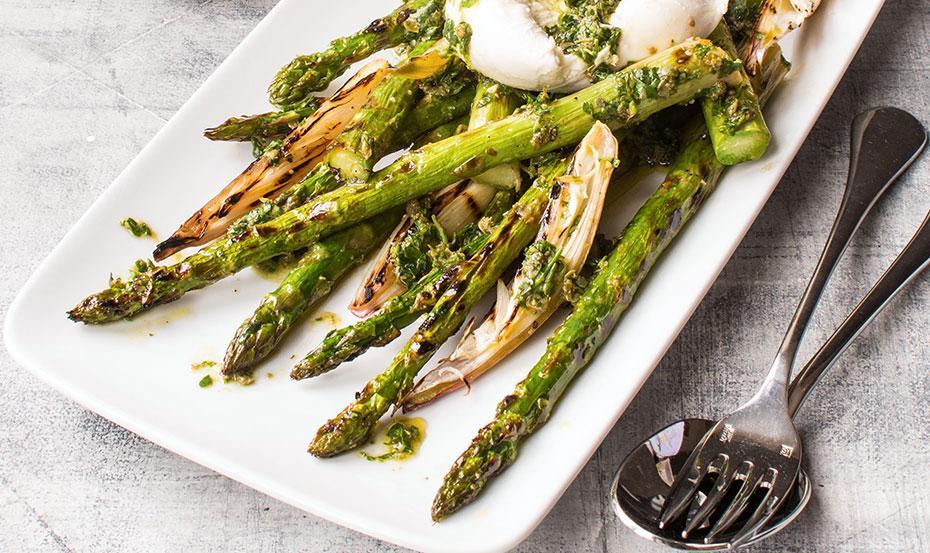 British asparagus with shallots and salsa verde