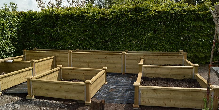 Raised beds at Sizergh Castle, Kendal, Cumbria