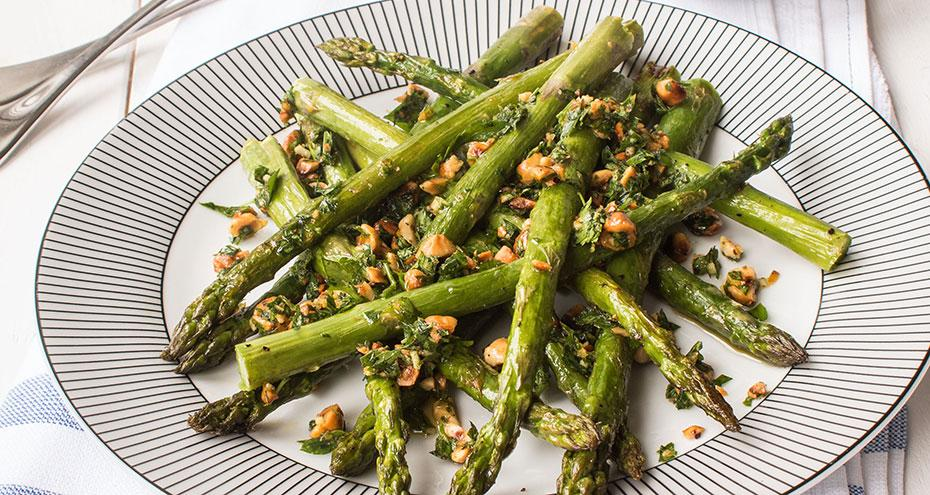 BBQ asparagus with feta and gremolata