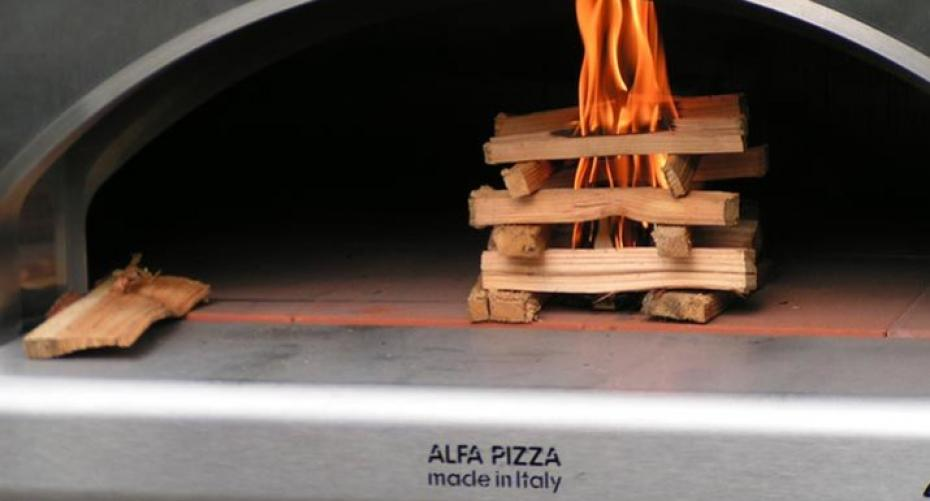 Lighting an Alfa wood-fired pizza oven