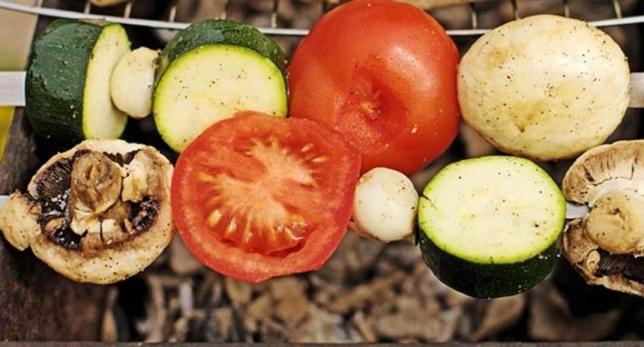 Vegetable skewers on the BBQ