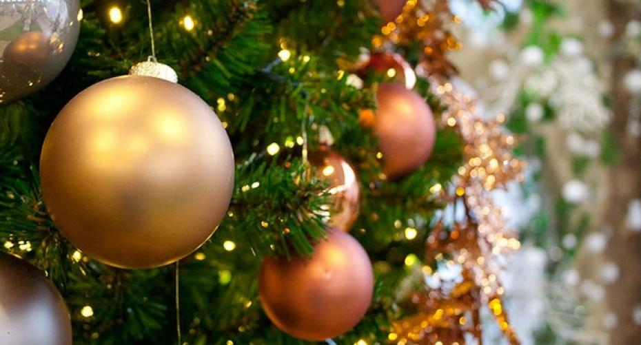 Artificial Christmas tree, lights and baubles