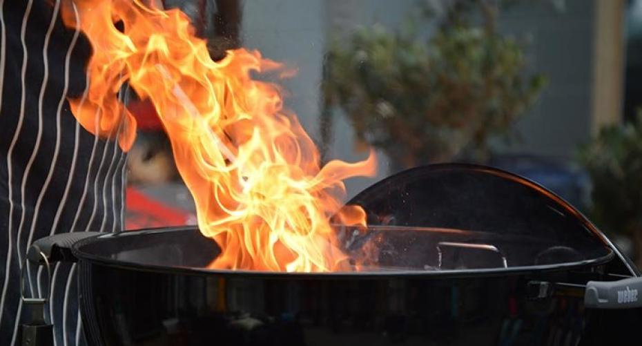 Flames from a gas BBQ