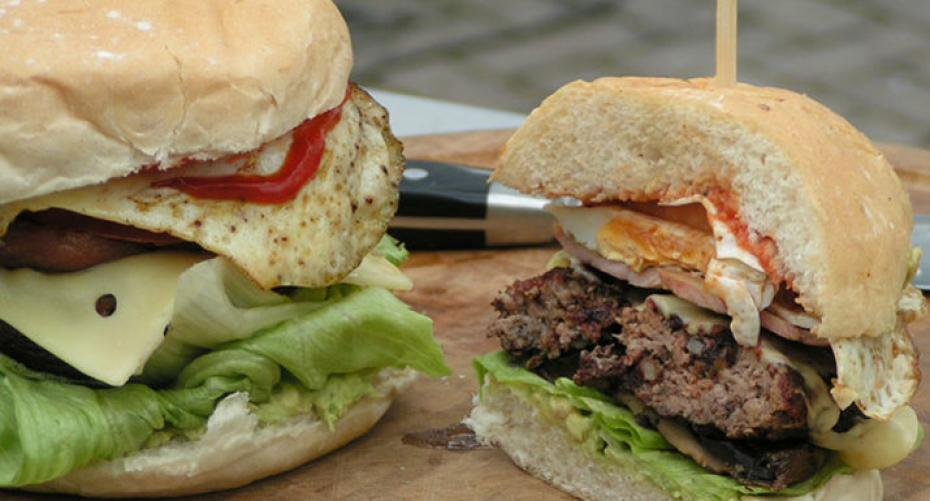 Breakfast burger cooked on Weber 57cm MasterTouch charcoal BBQ