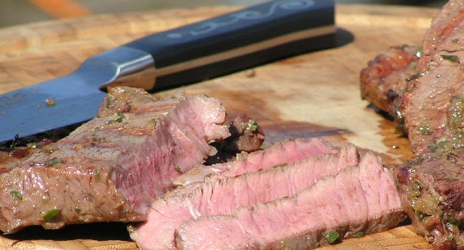 Caribbean jerk-style steak cooked on Traeger Timberline 850, with I O Shen knife
