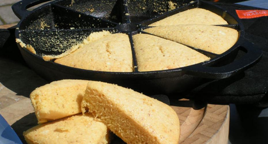 cornbread cooked on the Traeger Timberline 850 wood pellet grill