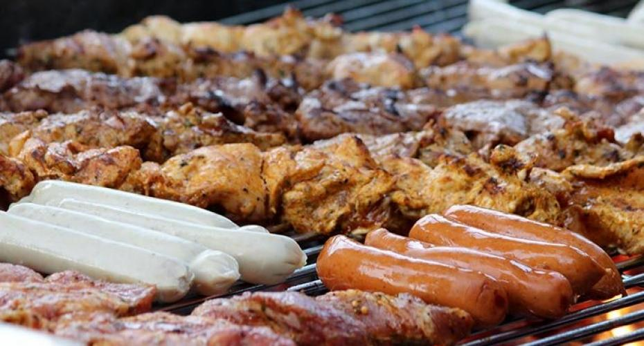 BBQ grill with kebabs, sausages and  pork ribs