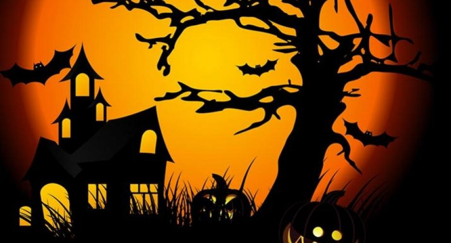 Haunted house and pumpkins