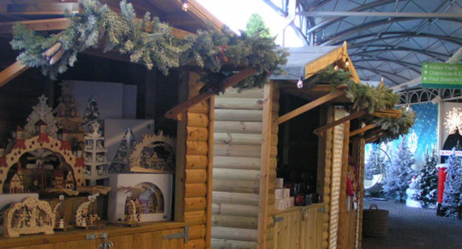 Christmas market stalls at Hayes Garden World