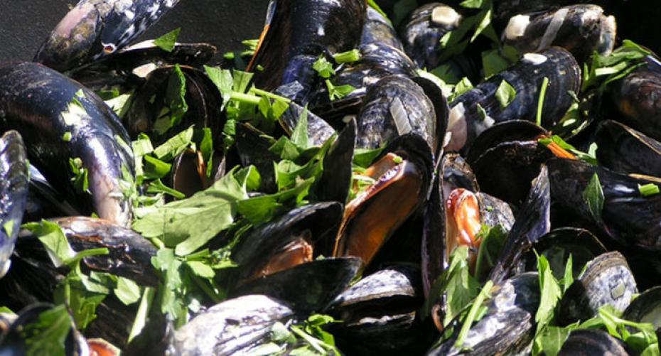 Moules mariniere cooked in the GBS Dutch oven on the Weber Genesis E310